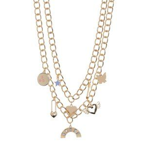 BP. Mixed Charm Layered Chain Link Gold Necklace